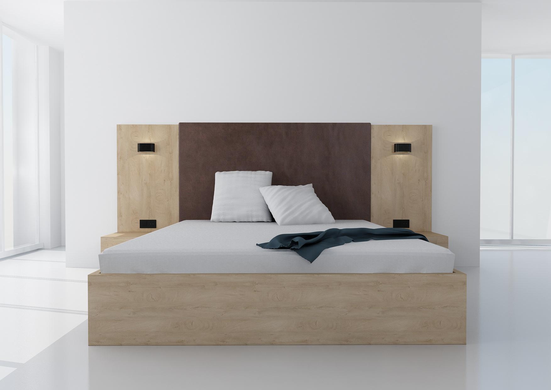 Manželská posteľ Koncepto, dub klasic, čokoládovohnedé čalúnenie, nočné stolíky, svietidlá a zásuvky