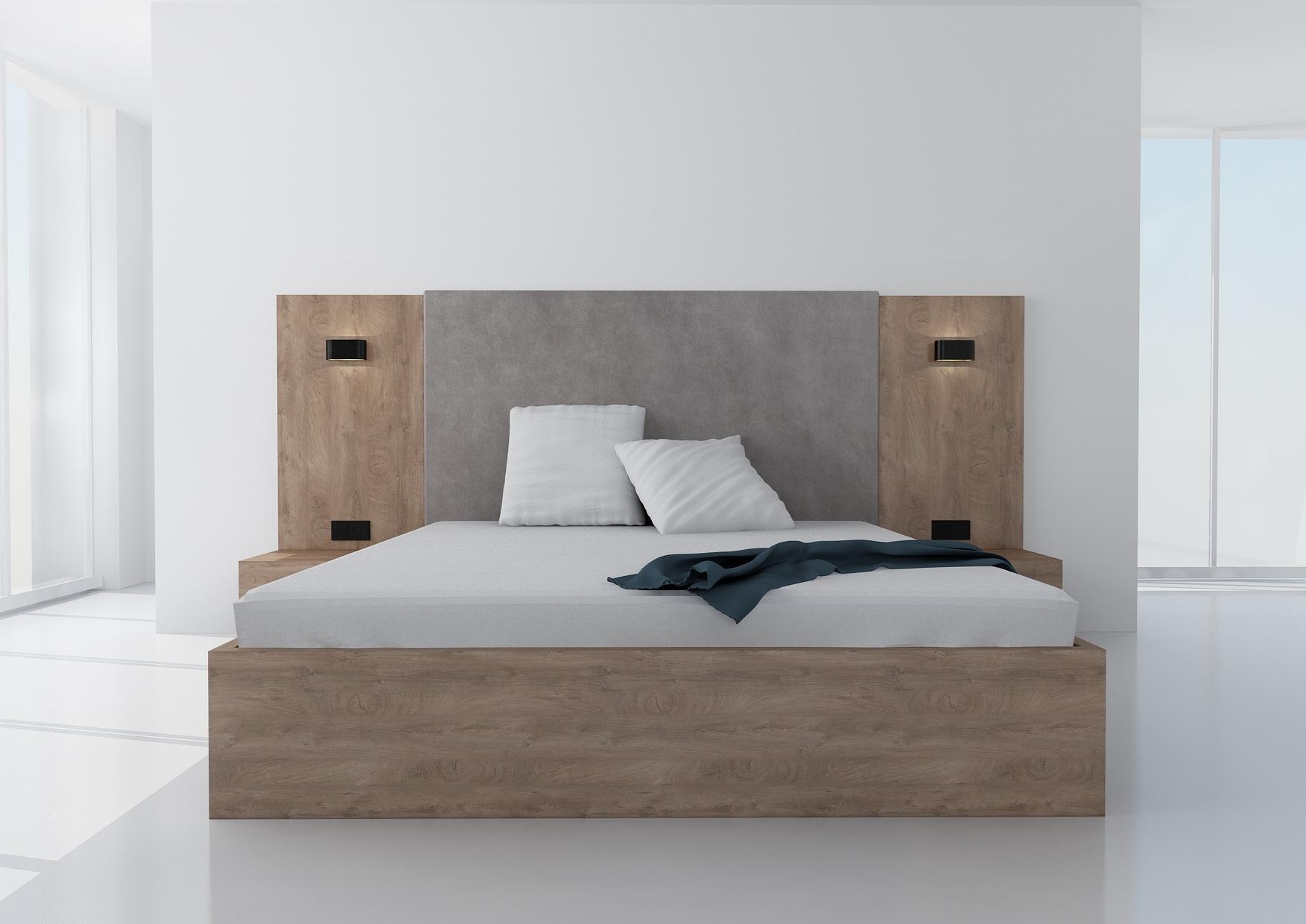 Manželská posteľ Koncepto, dub koňak, sivé čalúnenie, nočné stolíky, svietidlá a zásuvky