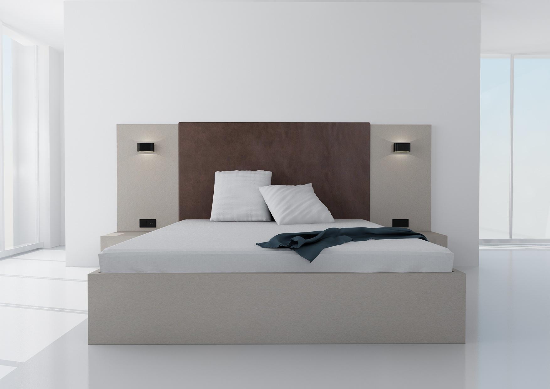 Manželská posteľ Koncepto, Idea Renio, čokoládovohnedé čalúnenie, nočné stolíky, svietidlá a zásuvky