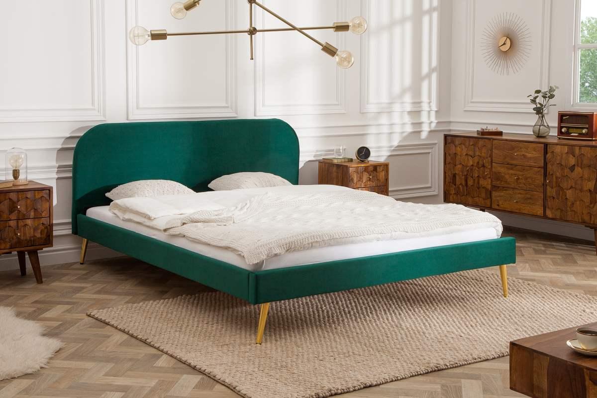Manželská posteľ Lena 160 x 200 cm - zelený zamat