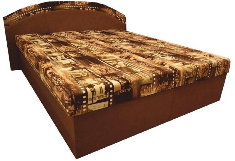 Manželská posteľ, s molitánovými matracmi, hnedá/vzor, PETRA