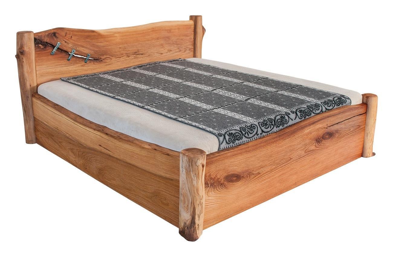 Masívna designová posteľ ADANA s úložným priestorom z brestového dreva