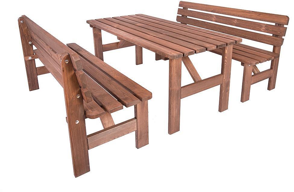 Masívna drevená zostava z borovice 1+2 morená 30 mm (rôzne dĺžky) 150 cm