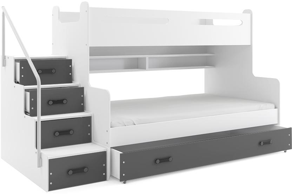 MAX 3 - Poschodová posteľ rozšírená - 200x120cm - Biely - Grafitový