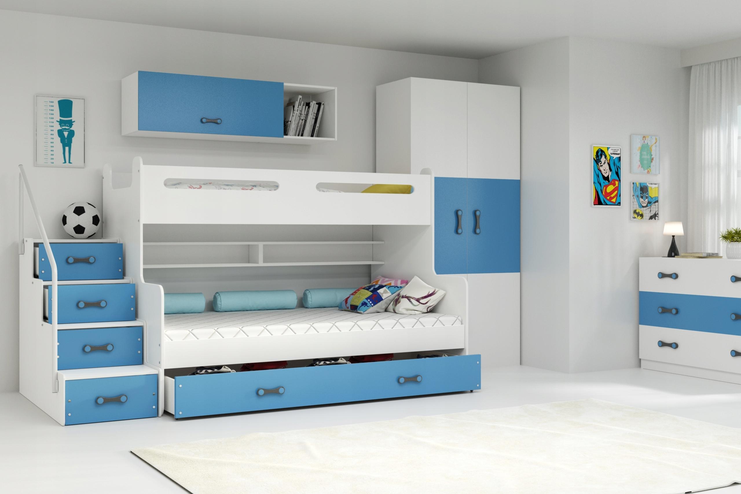 MAX 3 - Poschodová posteľ rozšírená - 200x120cm - Biely - Modrý