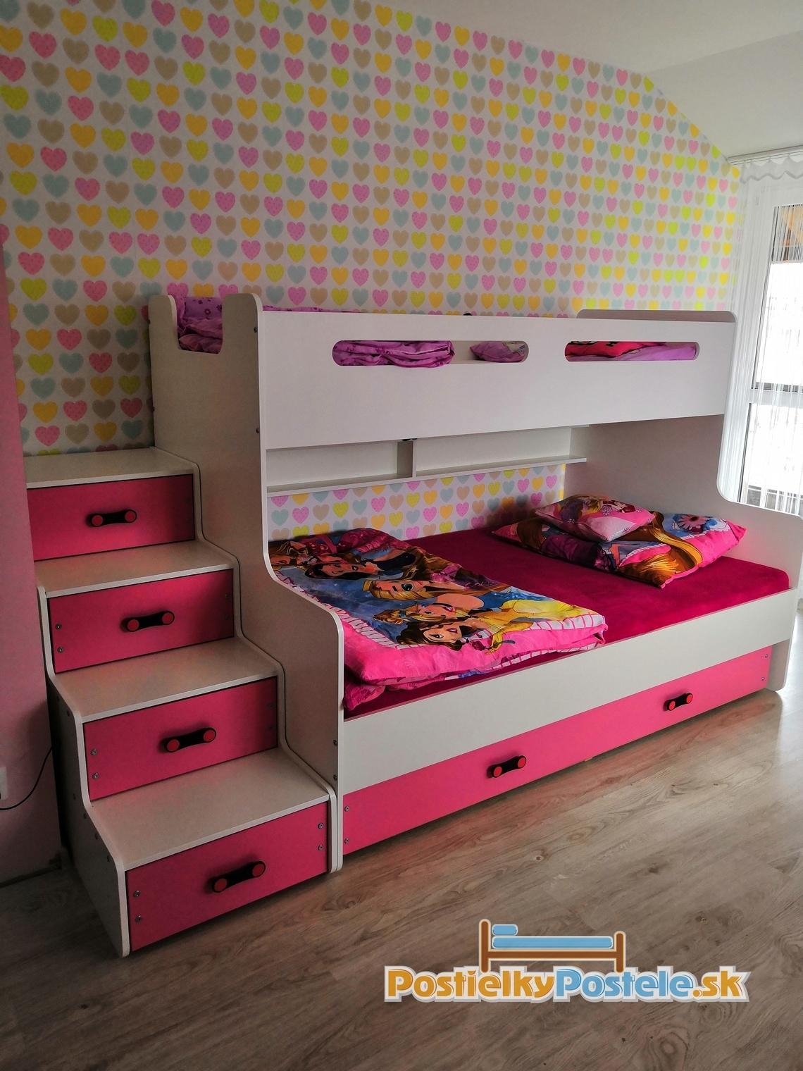 MAX 3 - Poschodová posteľ rozšírená - 200x120cm - Biely - Ružový