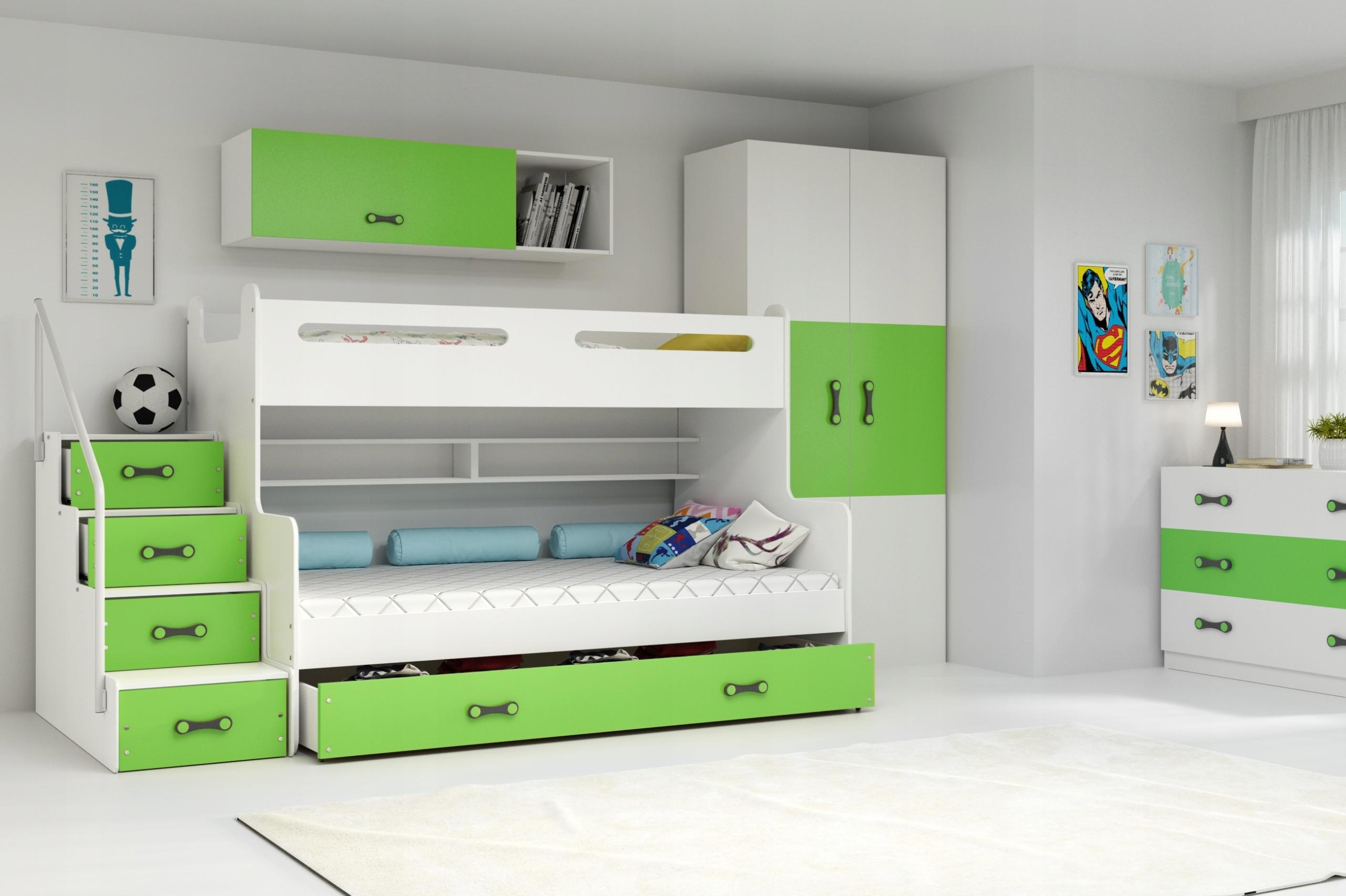 MAX 3 - Poschodová posteľ rozšírená - 200x120cm - Biely - Zelený