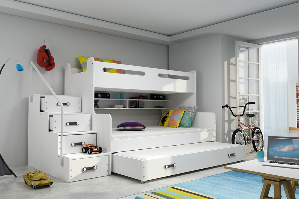 MAX 3 - Poschodová posteľ (rozšírená) s prístelkou - 200x120cm - Biely - Biely