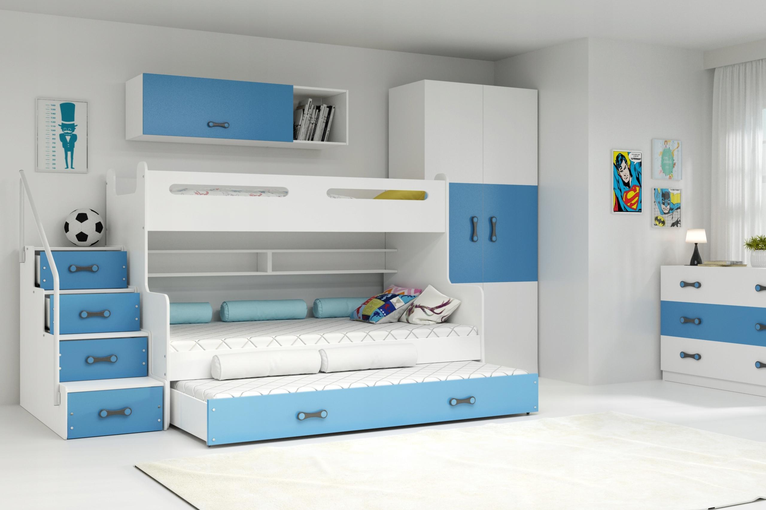 MAX 3 - Poschodová posteľ (rozšírená) s prístelkou - 200x120cm - Biely - Modrý