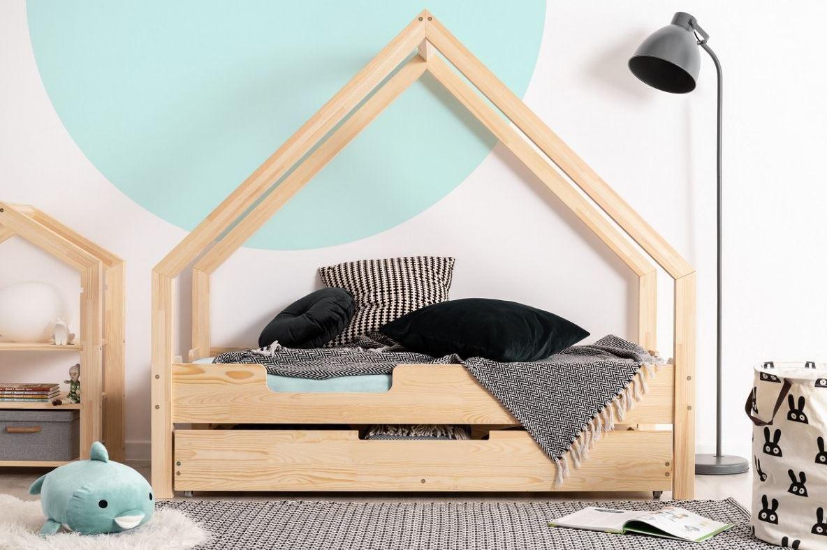 MAXMAX Detská Domčekové posteľ so zásuvkou z masívu LOCA C - 200x90 cm