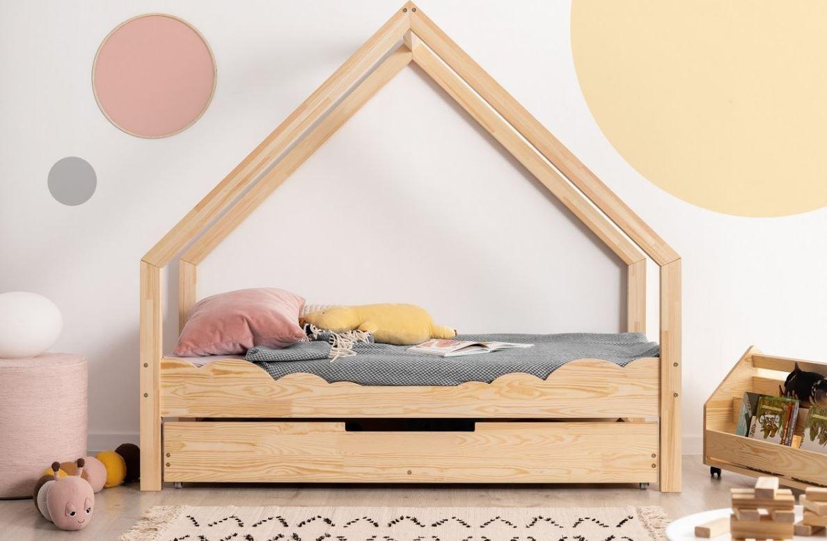 MAXMAX Detská Domčekové posteľ so zásuvkou z masívu LOCA D - 200x90 cm