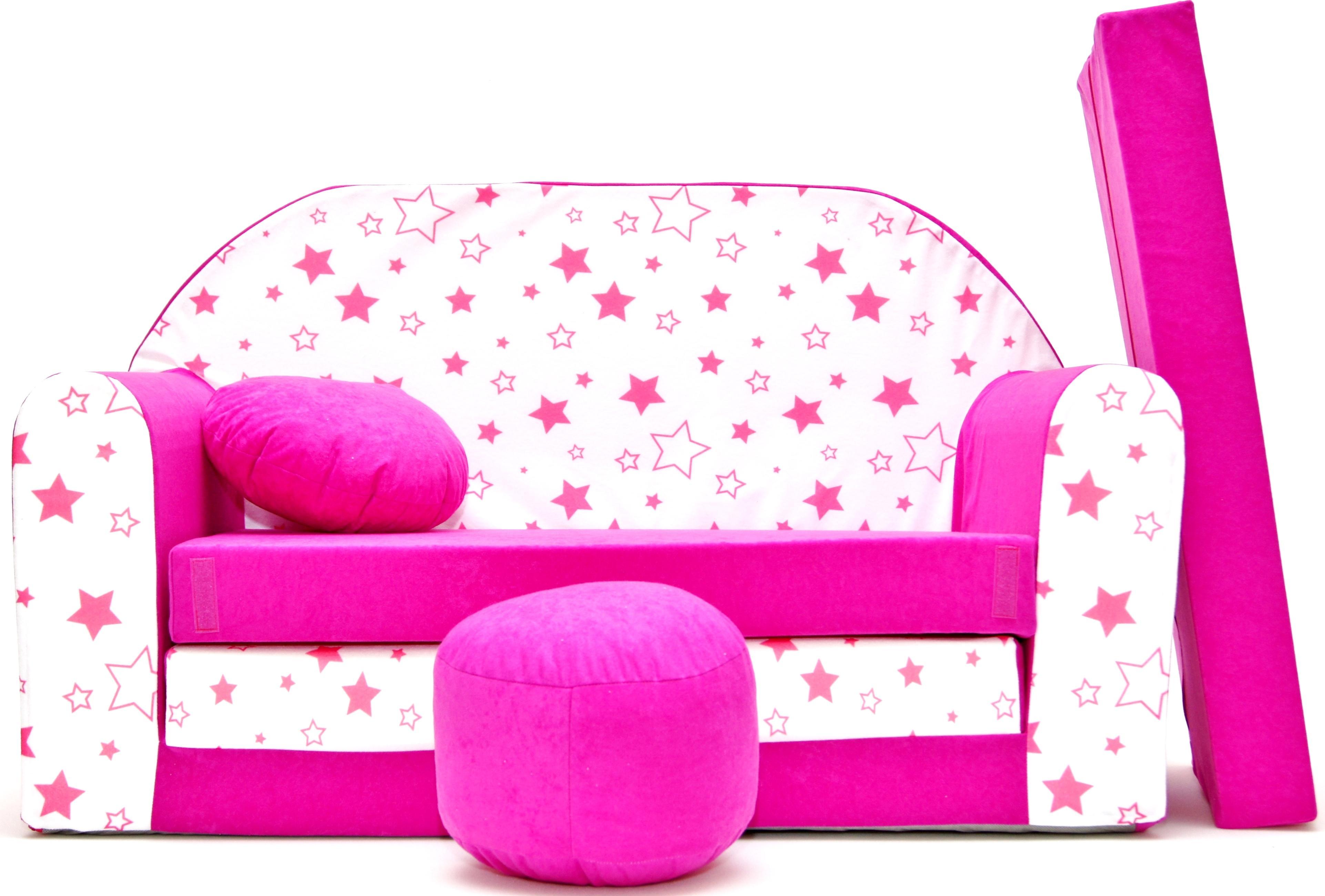 MAXMAX Detská pohovka HVIEZDIČKY 3 - ružová