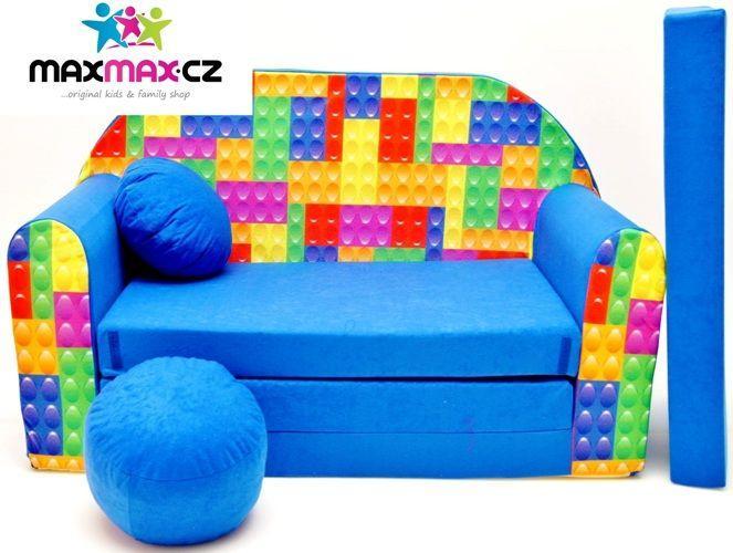 MAXMAX Detská pohovka LEGO - modrá