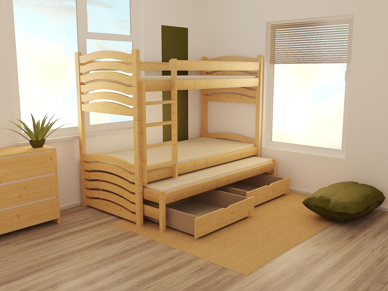 MAXMAX Detská poschodová posteľ s prístelkou z MASÍVU 200x90cm so zásuvkou - PPV021