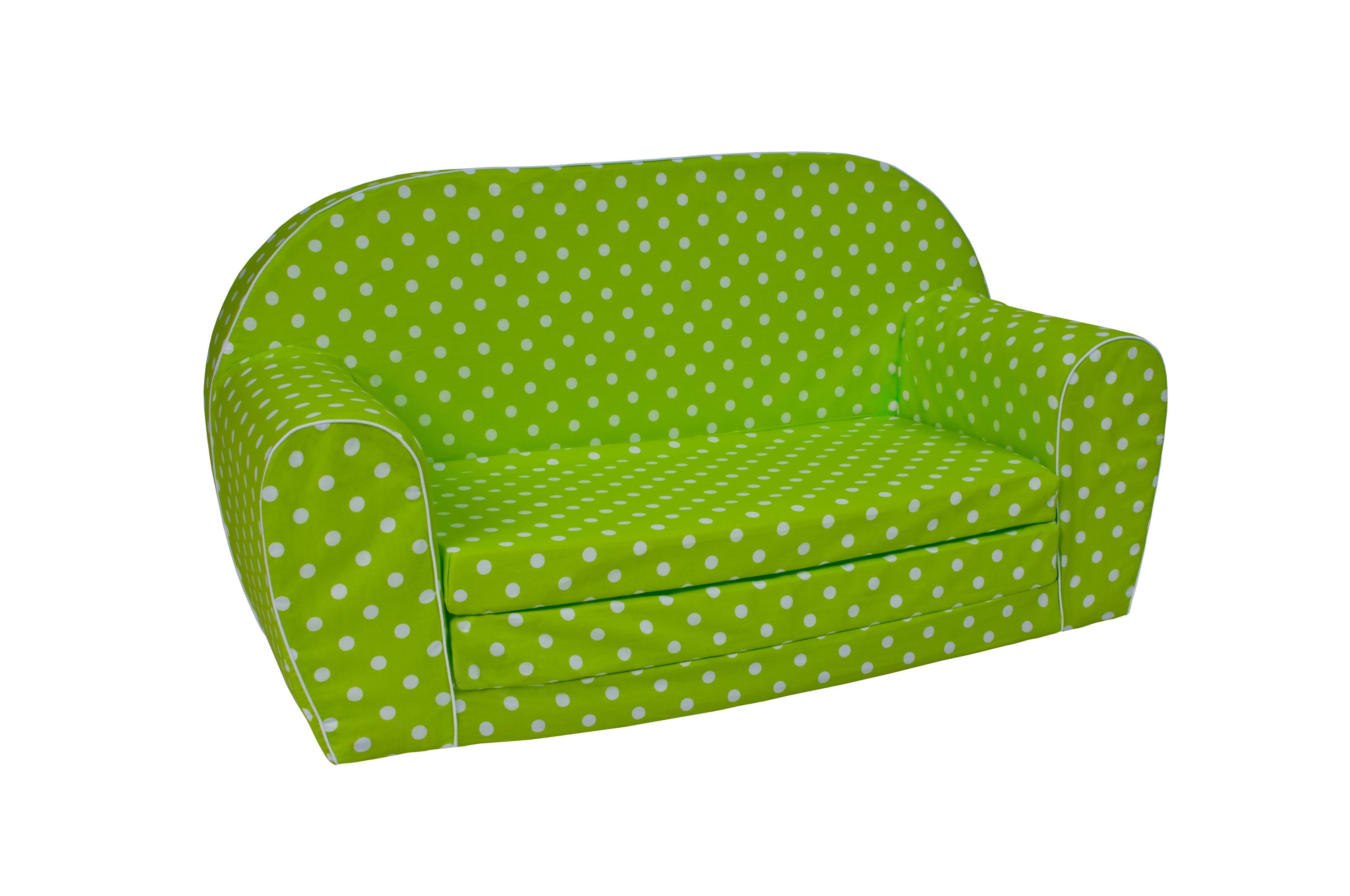 MAXMAX Detská rozkladacia MINI pohovka bodky - zelená