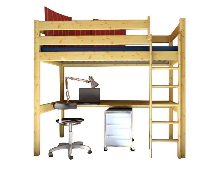 MAXMAX Detská vyvýšená posteľ s písacím stolom DANA 190x80 cm + matrac ZADARMO!