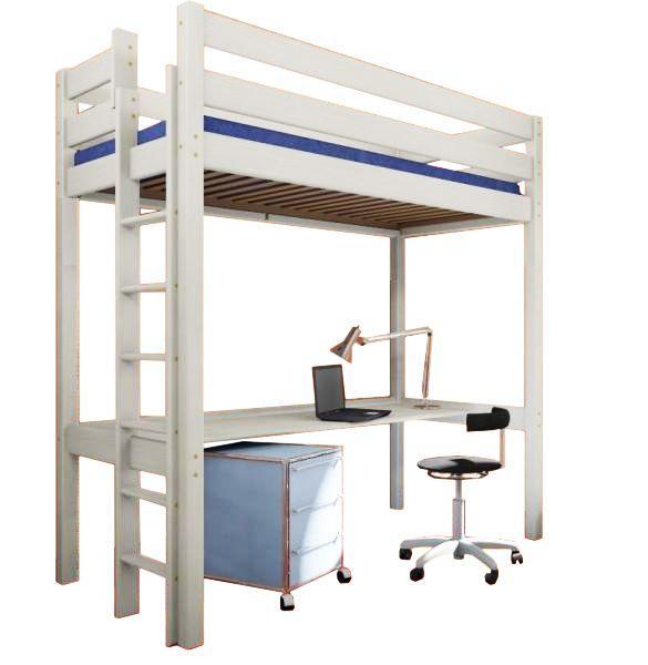 MAXMAX Detská vyvýšená posteľ s písacím stolom ERGO 190x80 cm + matrac ZADARMO!