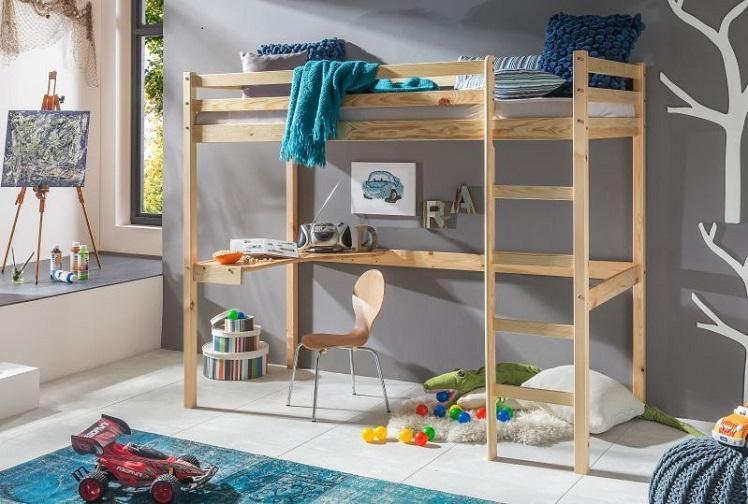 MAXMAX Detská vyvýšená posteľ so stolíkom ANETA 200x90 cm z masívu borovice - bezfarebný lak