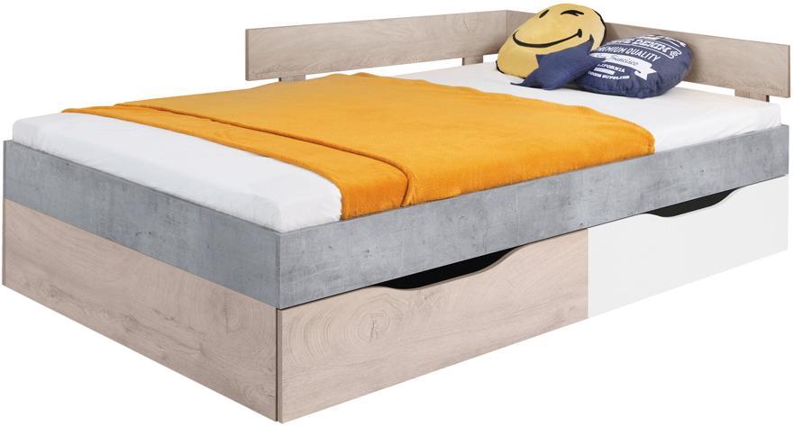 ME Detská posteľ Fabio Farba: Biela/Betón, Rozmer: 120x200