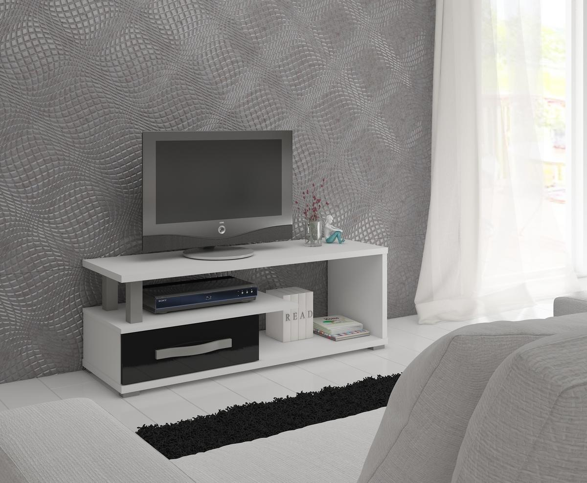 MEBLOCROSS Angel ANG-12 tv stolík biela / čierny lesk