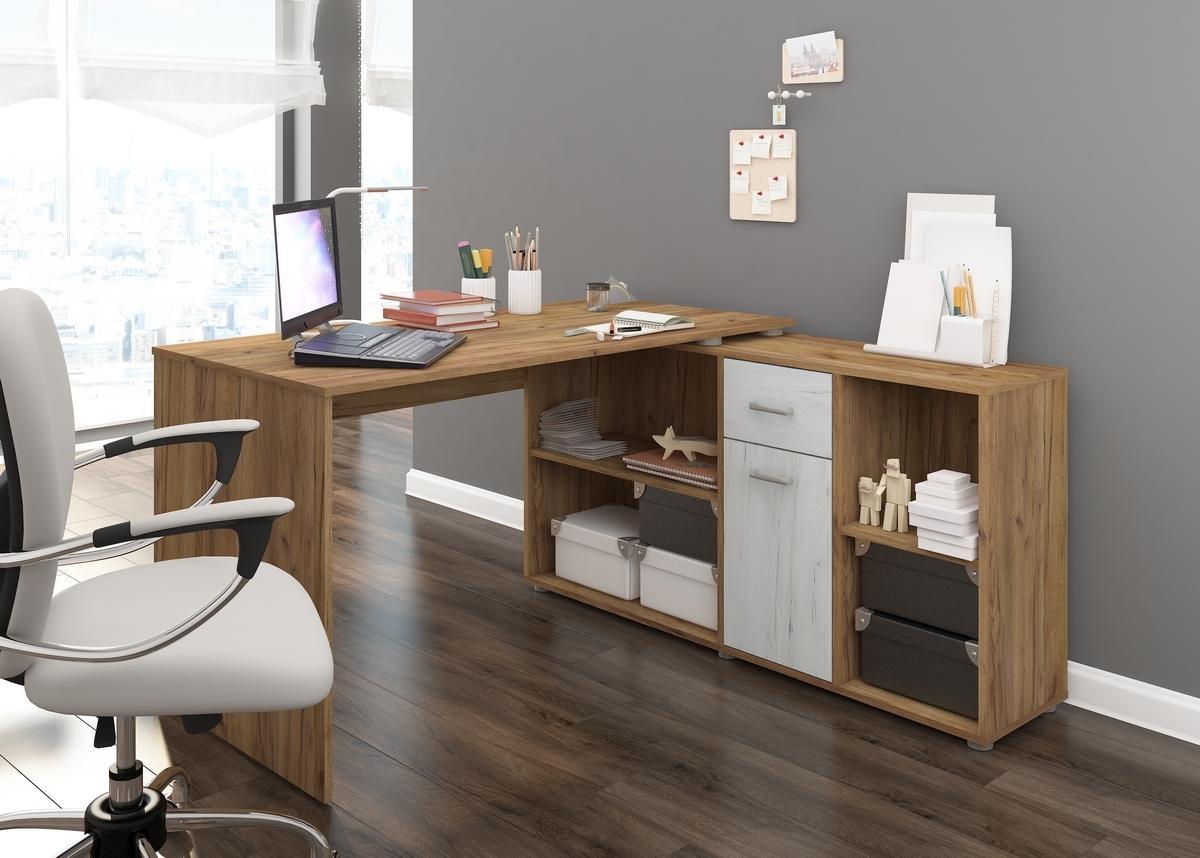 MEBLOCROSS Beat P rohový písací stôl craft zlatý / craft biely