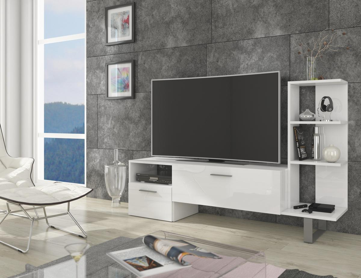 MEBLOCROSS Best tv stolík biela / biely lesk