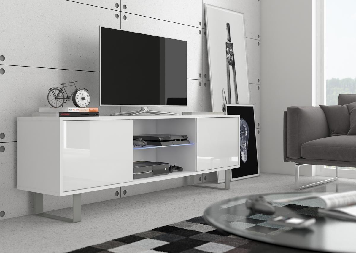 MEBLOCROSS King KIN-02 tv stolík biela / biely lesk