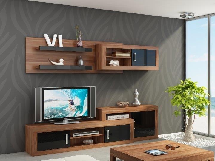 MEBLOCROSS Verin obývacia stena slivka / čierna