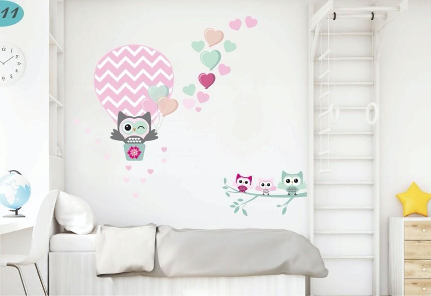 DomTextilu Milá dekoračná nálepka v pastelových farbách zaľúbená sova 150 x 300 cm 46410-217232 Ružová