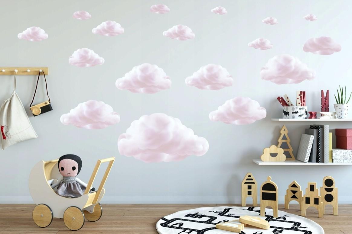 DomTextilu Milá detská nálepka na stenu ružové mraky 60 x 120 cm 46207-216731