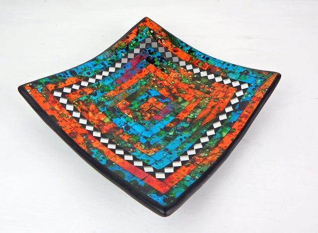Miska oranžovo/tyrkysová, hranatá, ručná mozaika, Indonézia
