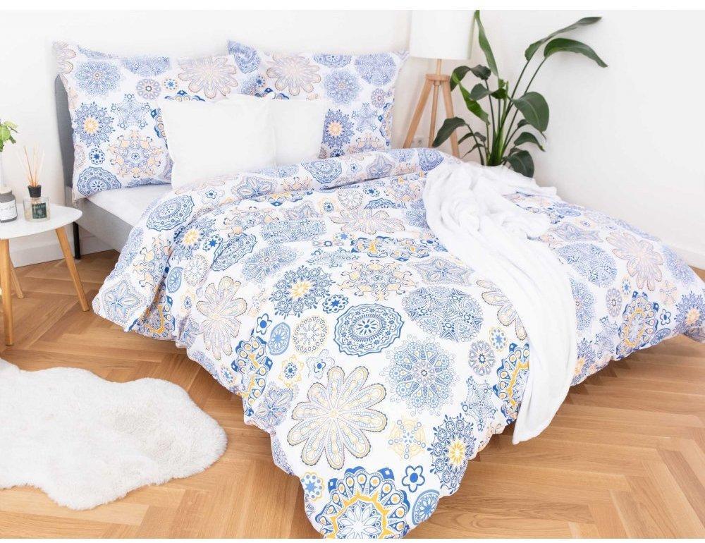 MKLuzkoviny.cz Francúzske bavlnené obliečky – Ciara modré 220x200/70x90 cm