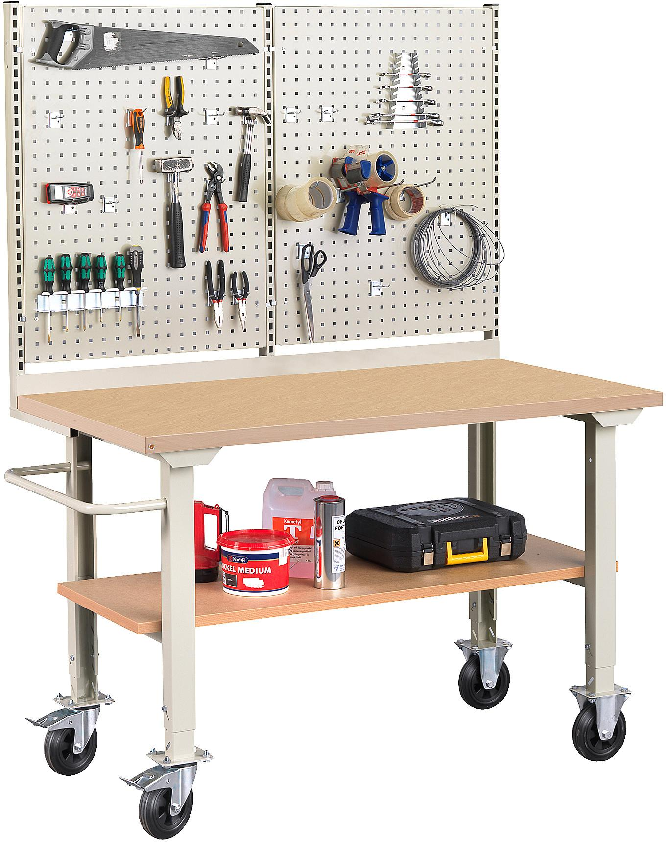 Mobilný dielenský stôl Robust, 1500x800 mm, tvrdená doska