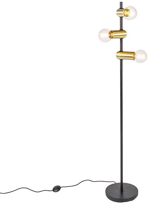 Moderná čierna s mosadznou podlahovou lampou 3-svetlo - Facil
