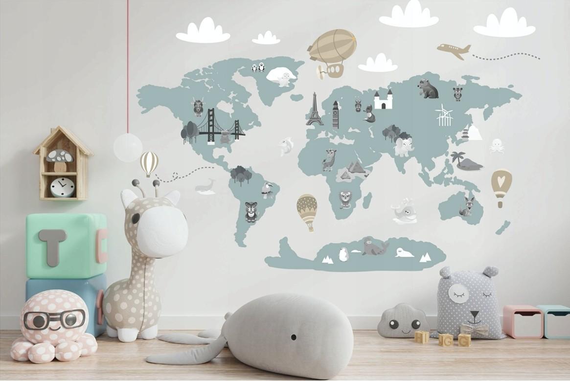 Moderná detská nálepka na stenu v jemnej pastelovej farbe mapa sveta 80 x 160 cm