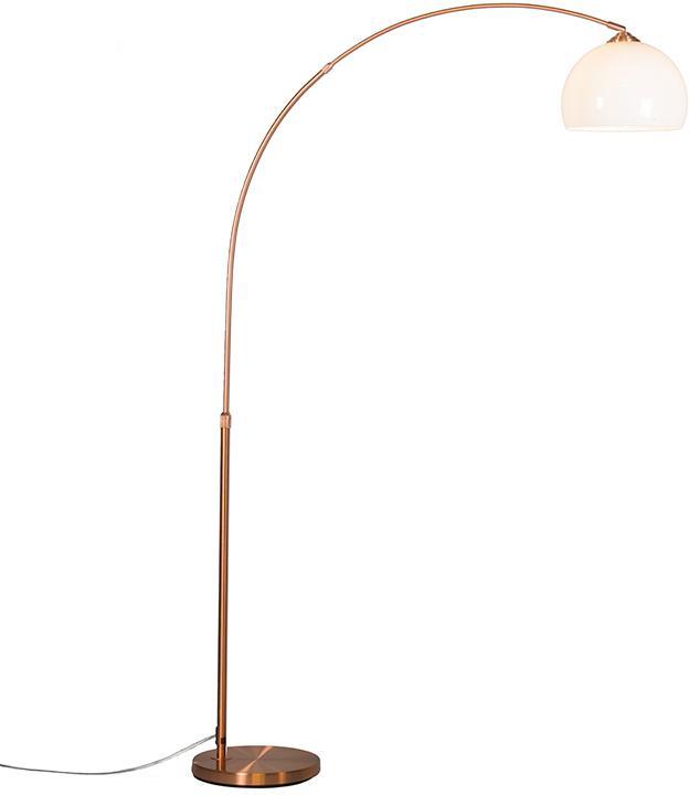 Moderná oblúková lampa medená s bielym tienidlom - Arc Basic