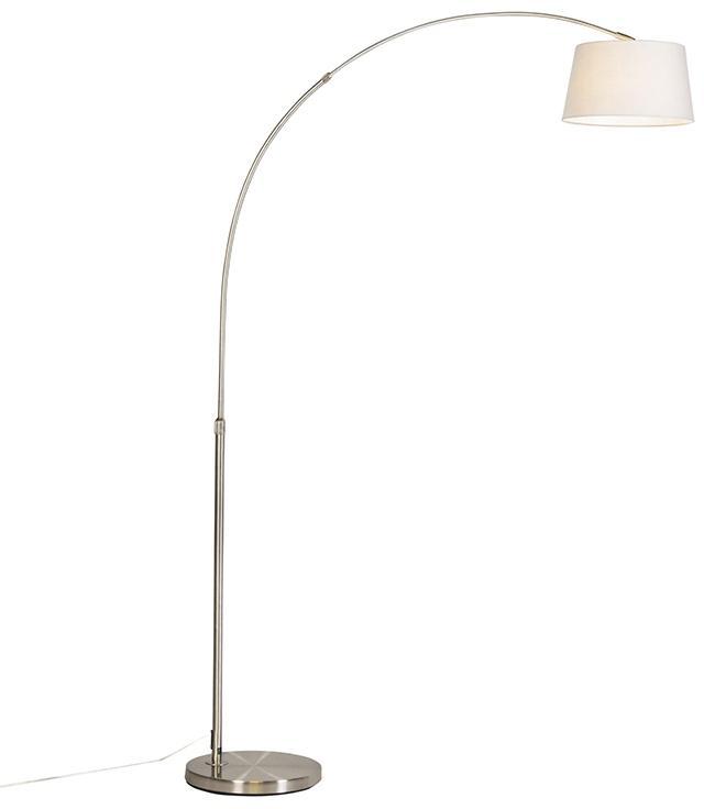 Moderná oblúková lampa z ocele s tienidlom z bielej látky - Arc Basic