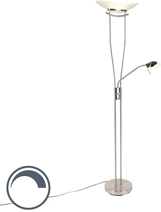Moderná podlahová lampa z ocele vrátane LED a stmievača - Lexus