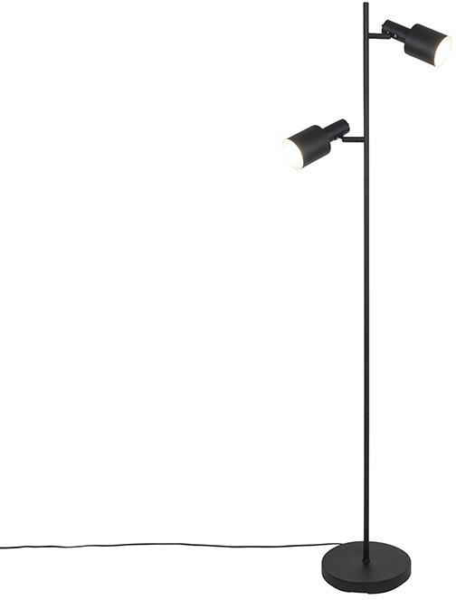 Moderná stojaca lampa čierna 2-svetlá - Lynn