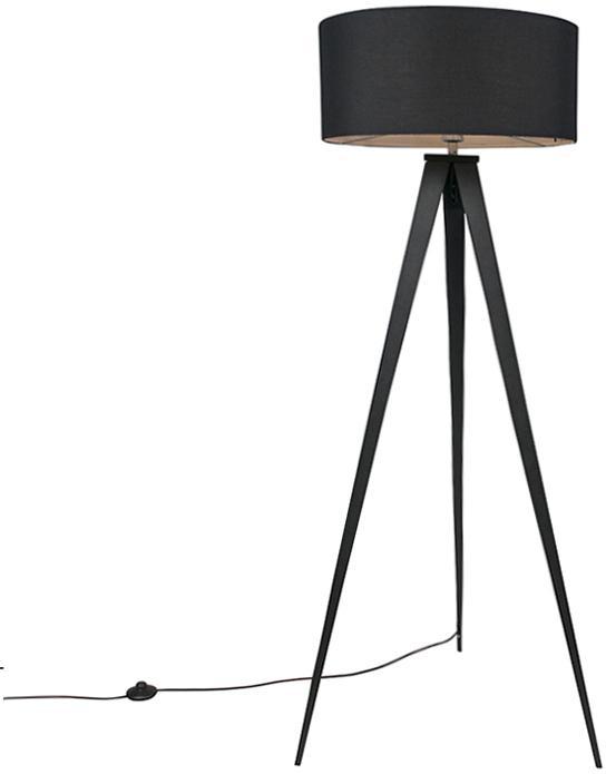 Moderná stojaca lampa čierna s čiernym tienidlom - Tripe