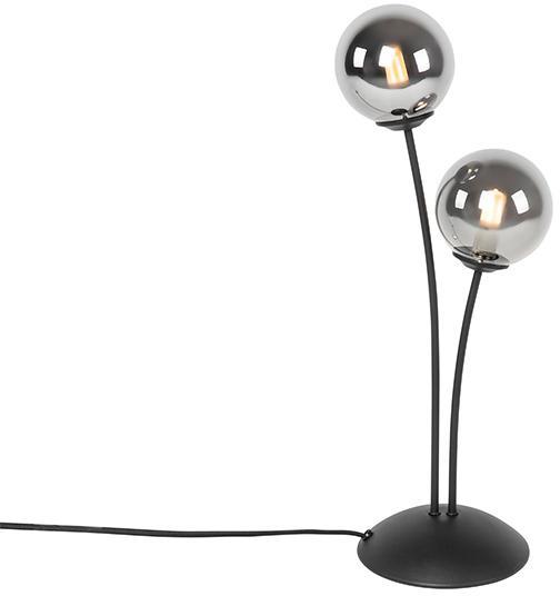 Moderná stolná lampa čierna 2-žiarovka s dymovým sklom - Atény