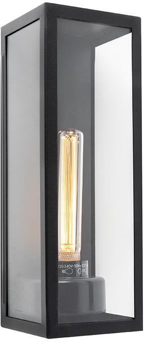 Moderné obdĺžnikové vonkajšie nástenné svietidlo čierne so sklom - Rotterdam Long