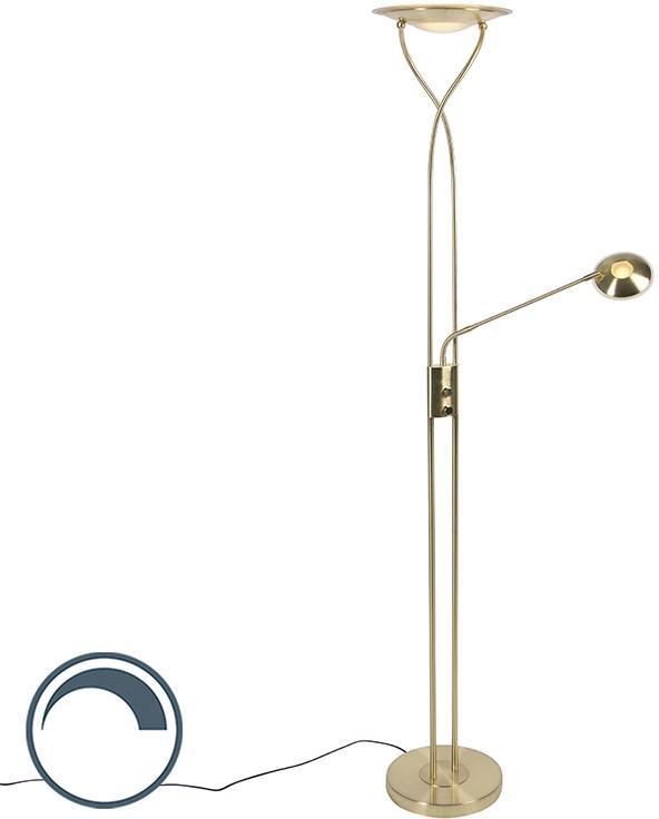 Moderné zlaté stojace svietidlo vrátane LED s čítacím ramenom - Mallorca