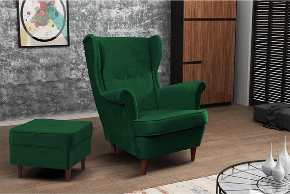 Moderný taburet, zelená/orech, RUFINO
