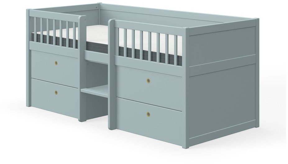 Modrá detská posteľ z borovicového dreva so zásuvkami Flexa