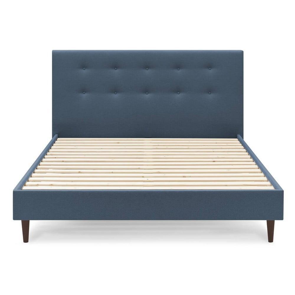 Modrá dvojlôžková posteľ Bobochic Paris Rory Dark, 160 x 200 cm
