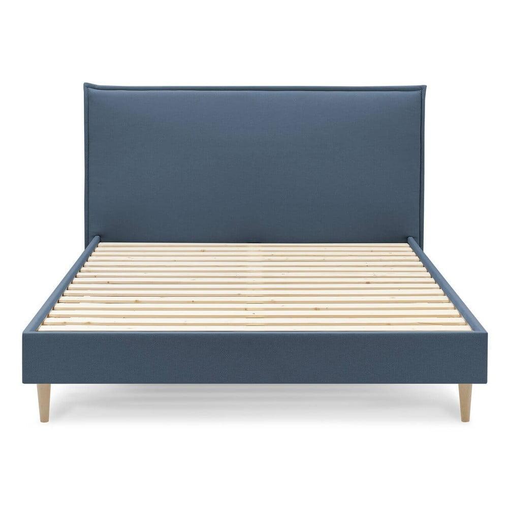 Modrá dvojlôžková posteľ Bobochic Paris Sary Light, 180 x 200 cm
