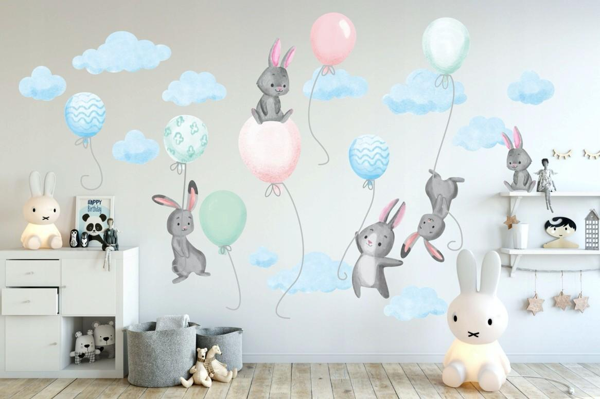 DomTextilu Modrá nálepka na stenu do detskej izby lietajúci zajaci s balónmi 80 x 160 cm 46577 Modrá