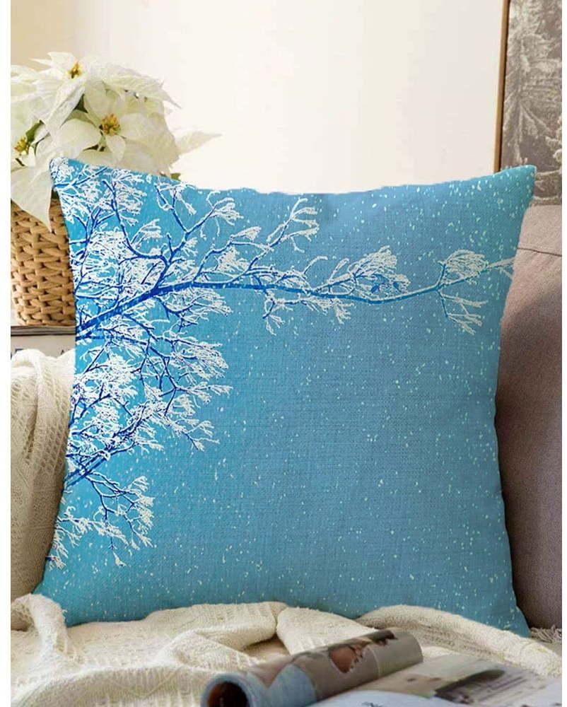 Modrá obliečka na vankúš s prímesou bavlny Minimalist Cushion Covers Winter Wonderland, 55 x 55 cm