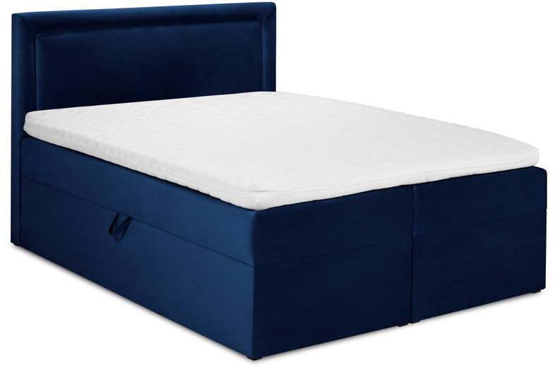 Modrá zamatová dvojlôžková posteľ Mazzini Beds Yucca, 200 x 200 cm